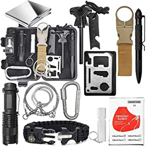 Emergency Survival Gear Kit - Gifts For Christmas Birthday Fathers Day Graduation, Edc Tool for Outdoor Backpack Hiking, Presents for Men Kids Teen Boy Scout Veterans Husband Dad Valentine Boyfriend