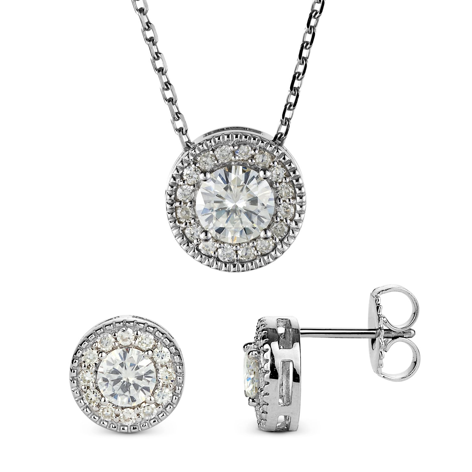 Forever Classic Round Cut Halo Moissanite Earrings and Pendant Necklace Set By Charles & Colvard by Charles & Colvard