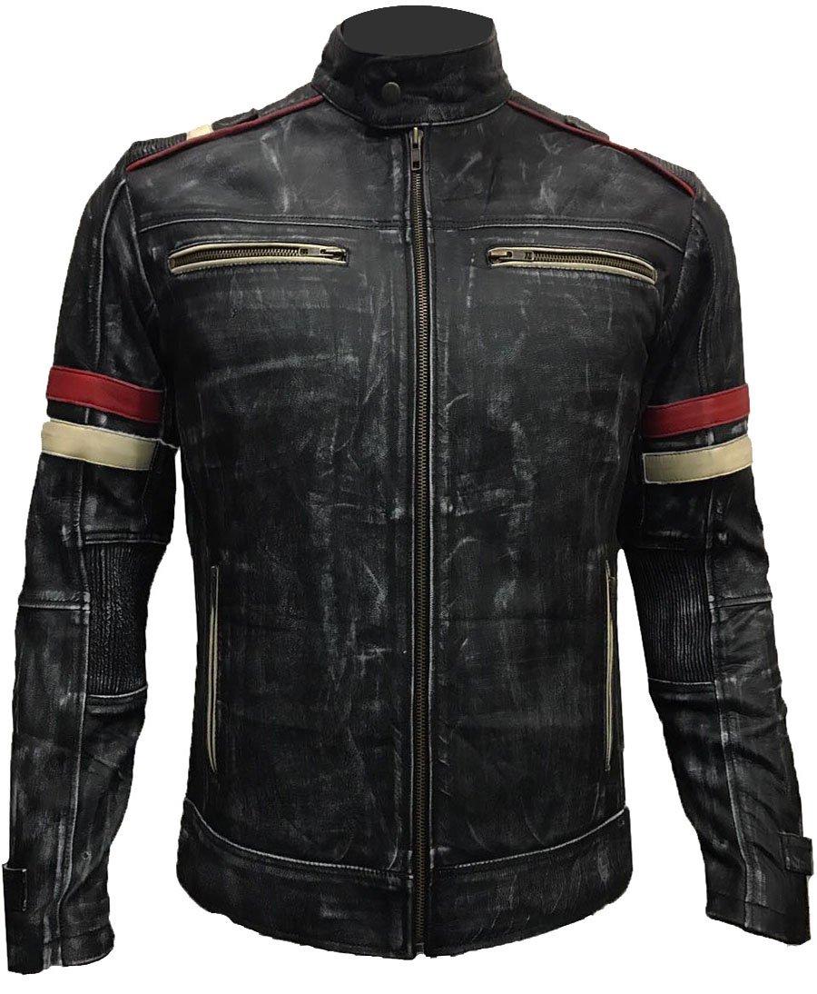 Men Vintage Biker Retro Motorcycle Cafe Racer Moto Distressed Leather Jacket (2XL)