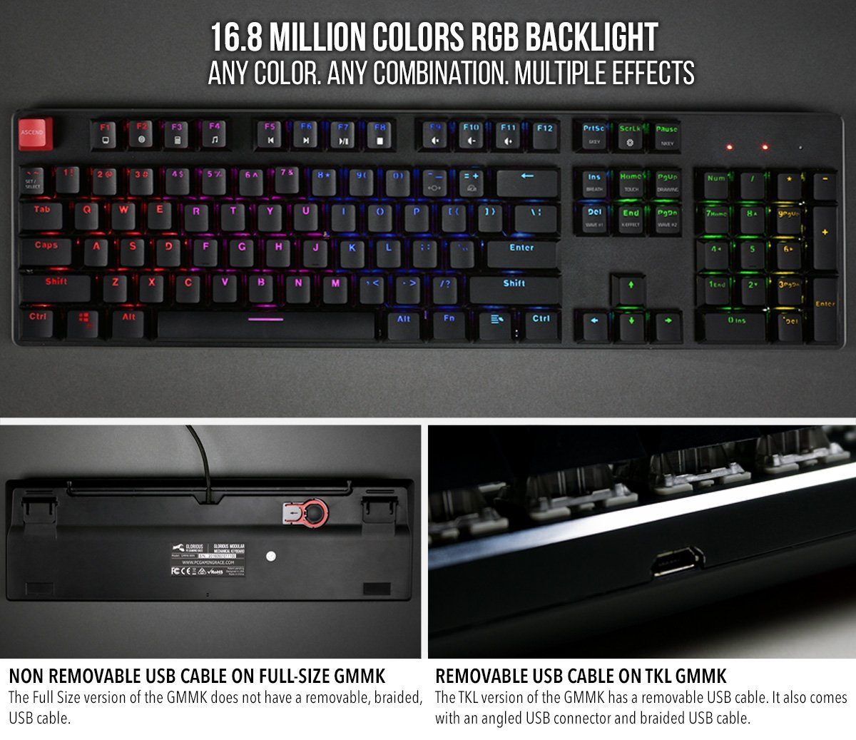 25b99ef4db7 Glorious Modular Mechanical Gaming Keyboard - Full Size (104 Key) - RGB LED  Backlit, Brown Switches, Hot Swap Switches (Black)(GMMK-BRN) - GMMK-BRN <  Gaming ...