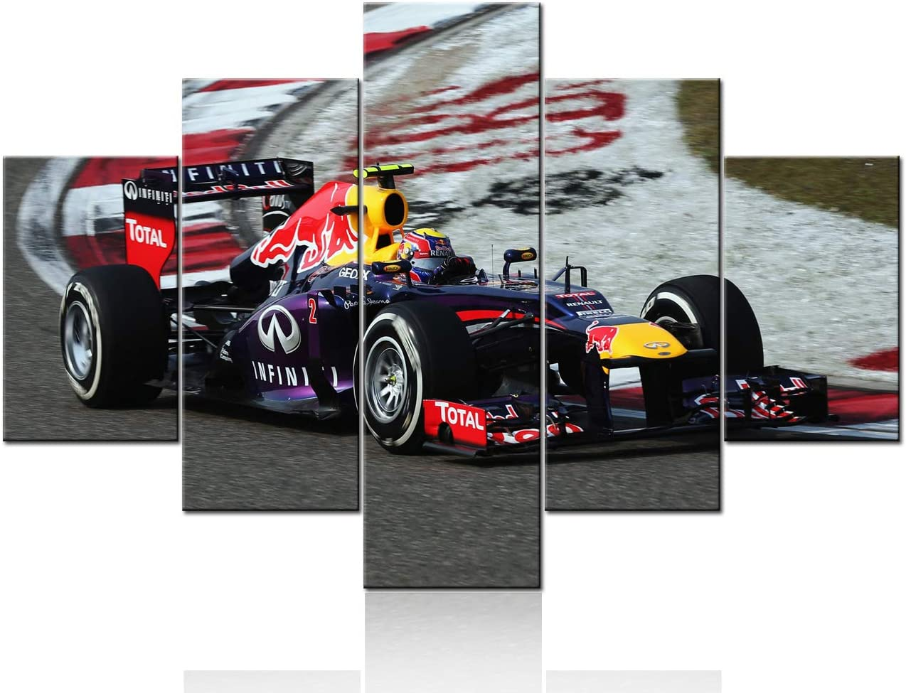 Large Framed F1 Formula One Ferrari Car Canvas Print Wall Art Home 5 Piece
