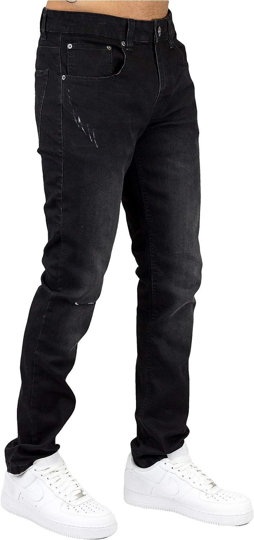 Bleecker and Mercer Men's Stretch Basic Skinny Fit Denim Jean Pants - Plain Classic - Ripped Distressed Detail