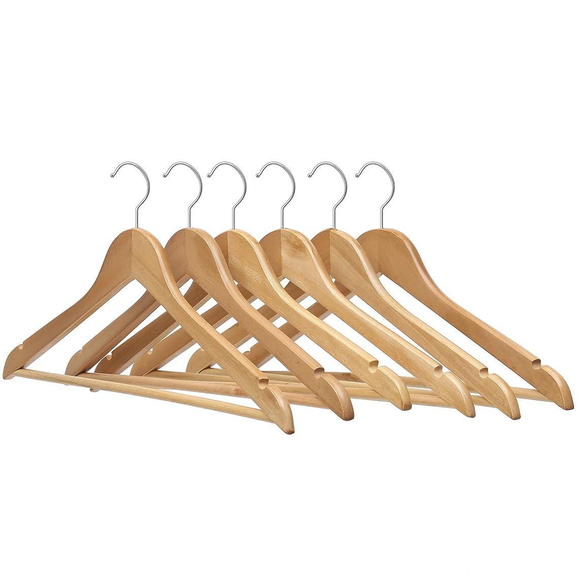 ピックつまらない野球ハンガー 木製ハンガー 洗濯ハンガー 物干しハンガー 衣類ハンガー U型滑り止め 12本組セット ワンピース スーツ シャツ コート用