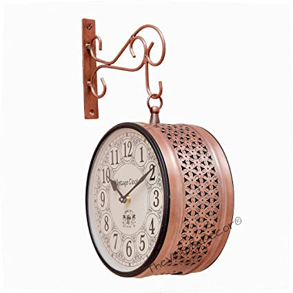 ec121c96c32 Buy Vintage Clock Double Side (Railway Style) Clock with Copper Finish   1  Year Warranty Online at Low Prices in India - Amazon.in
