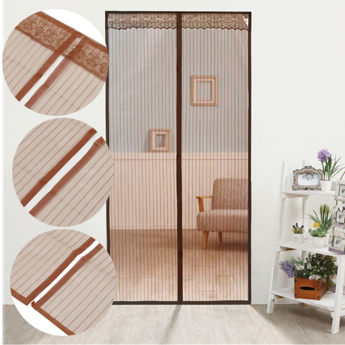 Ecover Magnetic Door Screen Mosquito Net with Velcro, Walk Through Curtain, 36''x82'', Coffee