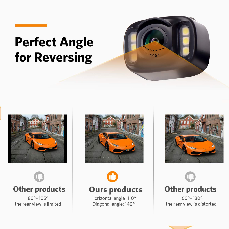 Emmako Backup Camera Wireless and Monitor Kit 9V-24V Rear View Camera System With 7 LED IR Night Vision Waterproof 4.3 Display Guide Lines For Car// SUV//Van