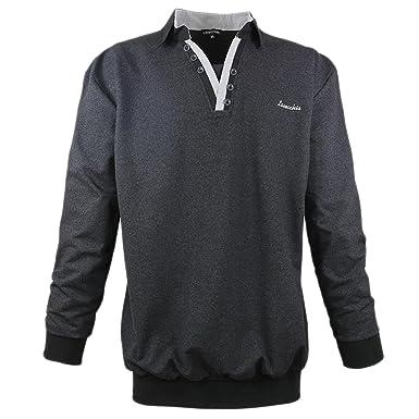 Lavecchia Herren Sweatshirt mit Bruststickerei und Polo