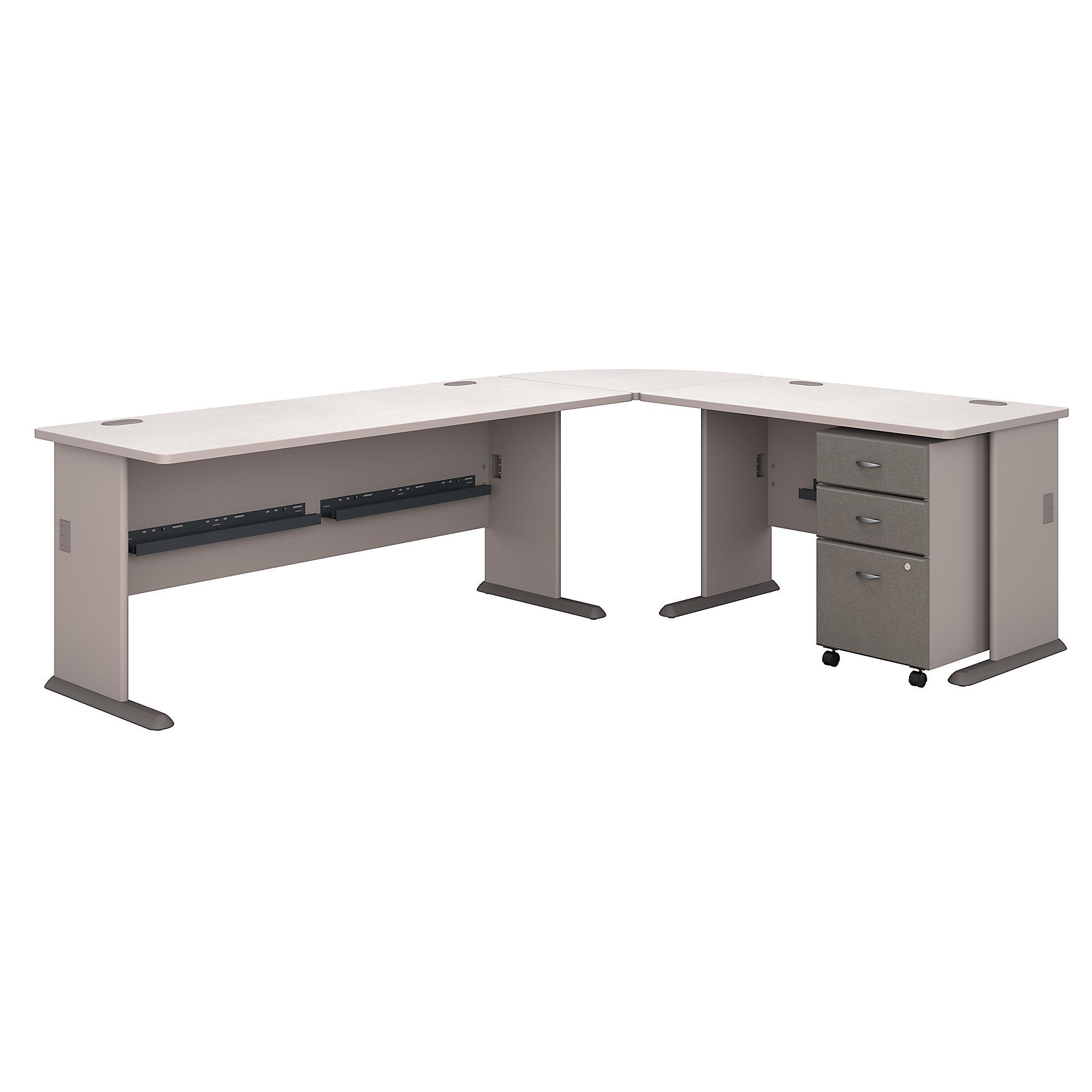 Bush Business Furniture Series A 99W x 75D L Shaped Desk with Mobile File Cabinet in Pewter and White Spectrum by Bush Business Furniture