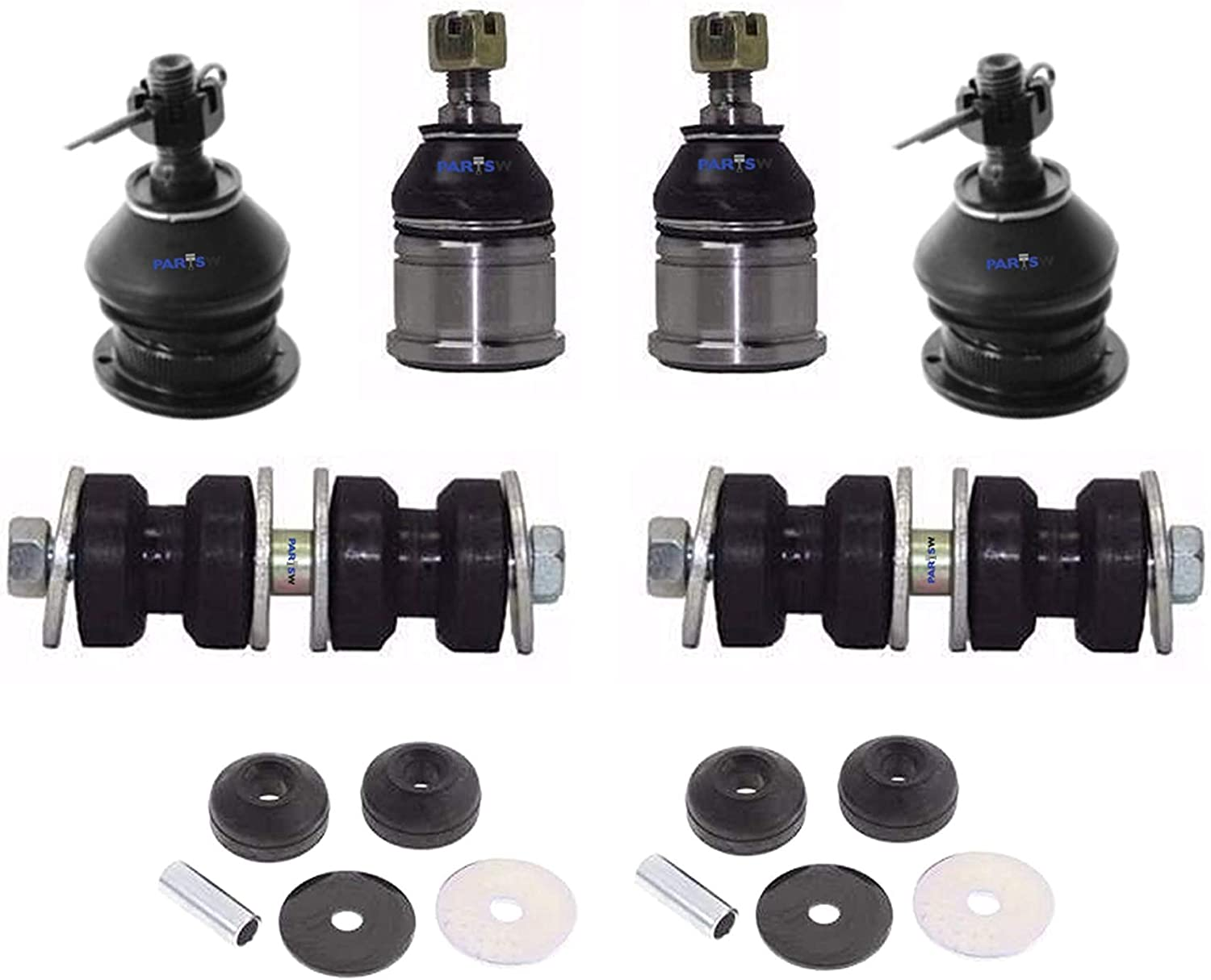 Front Upper /& Lower Ball Joints PartsW 8 Pc Suspension Kit for Honda Accord /& Isuzu Oasis//Front Upper Shock Mount Bushing Front Sway Bar End Link