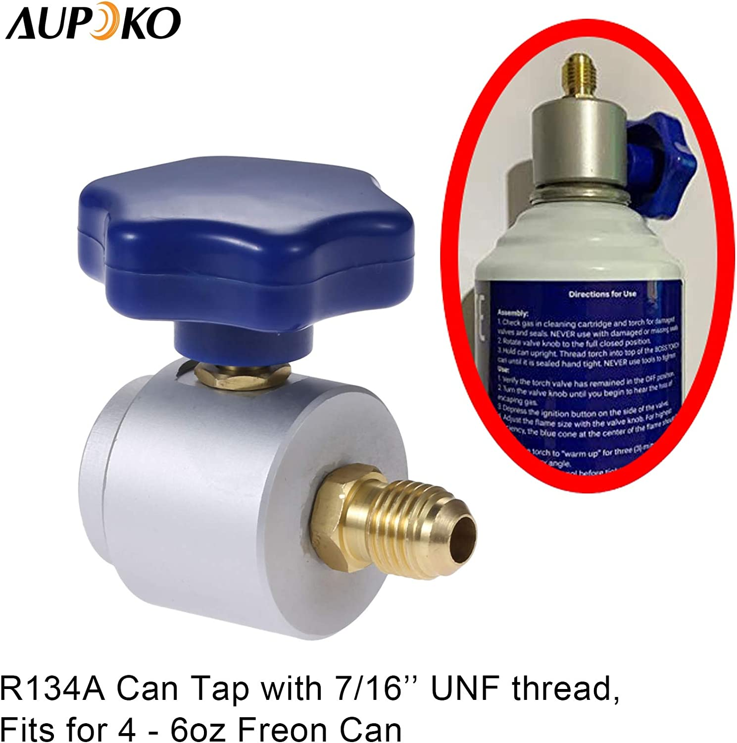 R-134A Self-Sealing Can Fits for Automotive Air Conditioning Charging R12 R22 R134A Dispenser Valve AC Refrigerant Bottle Opener 1//4 SAE Male and 7//16-28UNF Female Thread