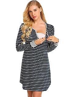 3dad433f65d Ekouaer Women s Long Sleeve Nursing Dress Striped Maternity Dress for  Breastfeeding S-XXL