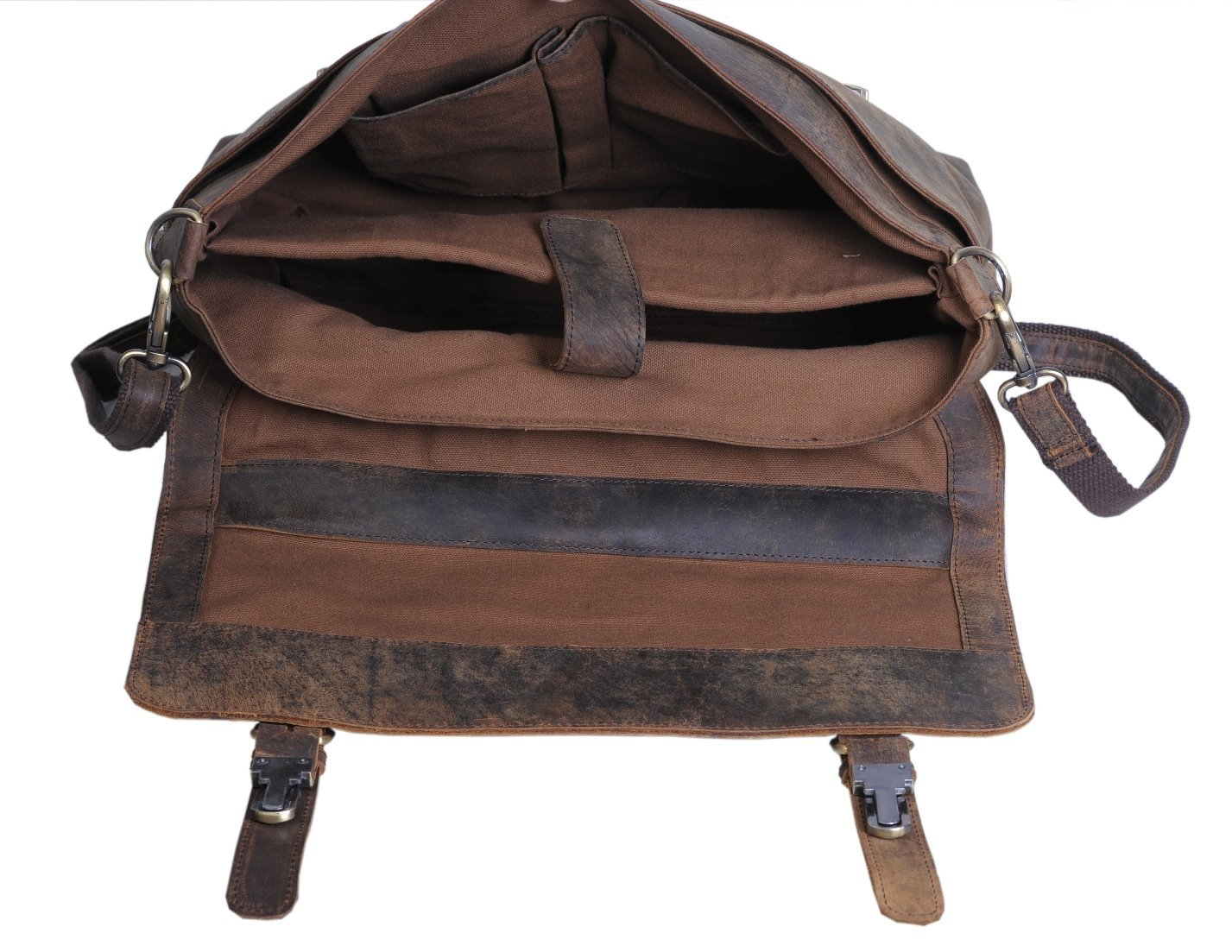 KomalC 15 Inch Retro Buffalo Hunter Leather Laptop (Fits Upto 15.6 Inch Laptop) Messenger Bag Office Briefcase College Bag