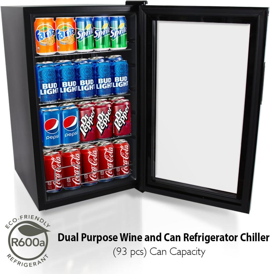 NutriChef 77 Can Beverage Cooler Refrigerator with Glass Door Beer Cooler Fridge Center