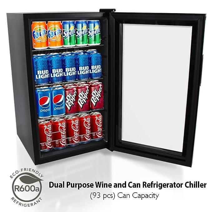 NutriChef 77 Can Beverage Cooler Refrigerator with Glass Door – Beer Cooler  Fridge Center