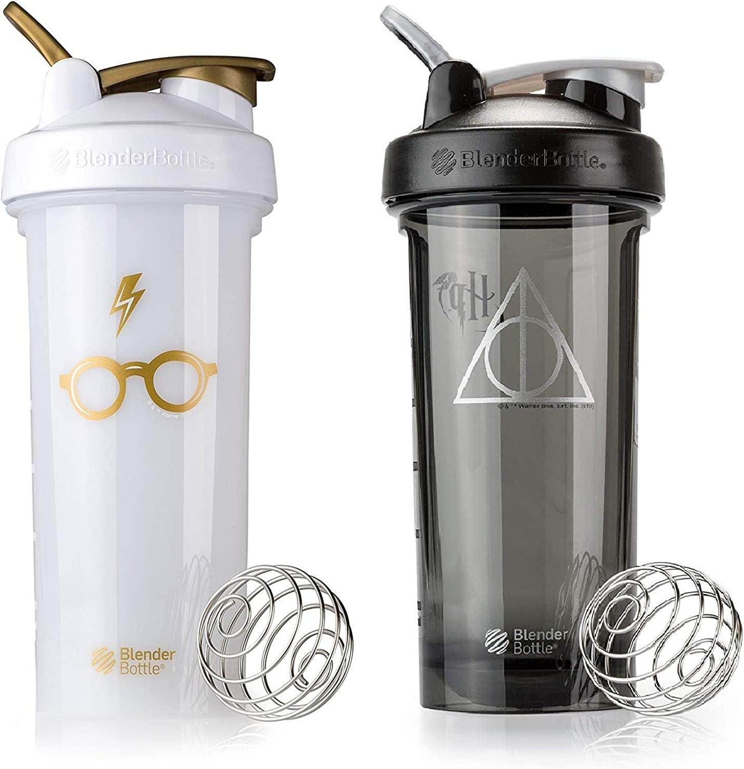Blender Bottle Pro Series - 2 Pack - Glasses and Deathly Hallows Designs - 28 oz
