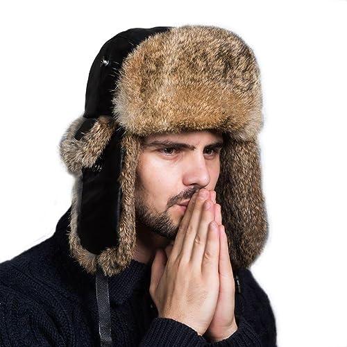 Ferand Cappello Unisex Adulto Trapper con Pelliccia di Coniglio para Sci Snowboard Inverno
