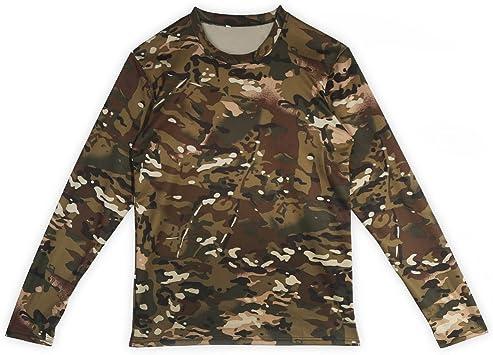Camisetas de manga larga de camuflaje para hombres,Militar Fresco Camuflaje Caza de Tiro Camisetas para hombres Casual Fitness Camisas Elásticas de Poliéster Bolsillo Redondo Camiseta - M, L, XL: Amazon.es: Ropa y