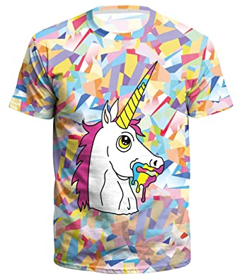 AEMOOEE Unisex Summer 3D Unicorn Print Short Sleeve O-Neck T-Shirt Tops  Blouse b5bb4452008b