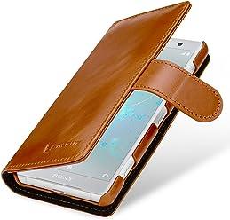StilGut Talis Case Portafoglio, Custodia in Vera Pelle Cover per Sony Xperia XZ2 Compact con Chiusura Magnetica, Cognac