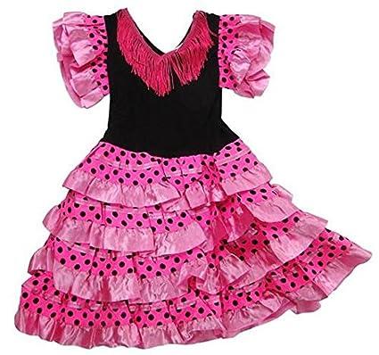 Rose Flamenco Noir Danse Traditionnelle Robe Pois Fille A J3lK1TFc