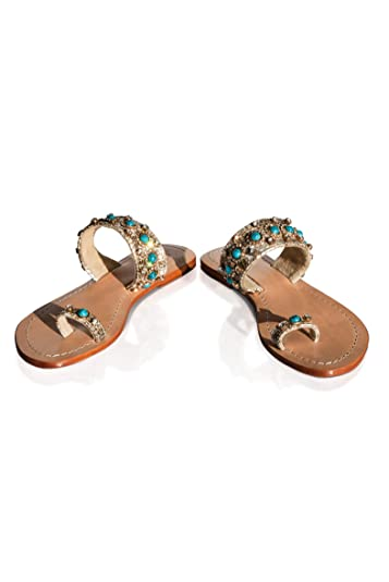 27c428b6e PASHA Blow Out Sale Bougainville Crystal Jeweled Leather Sandals (11)  Turquoise White