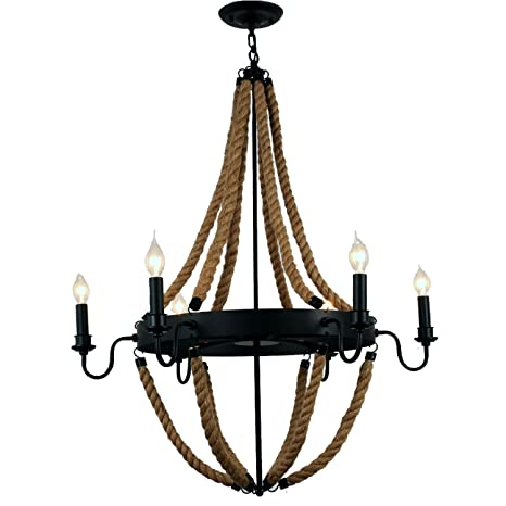 Unitary brand antique metal flaxen and black hemp rope wheel candle unitary brand antique metal flaxen and black hemp rope wheel candle chandelier with 6 e12 bulb aloadofball Gallery