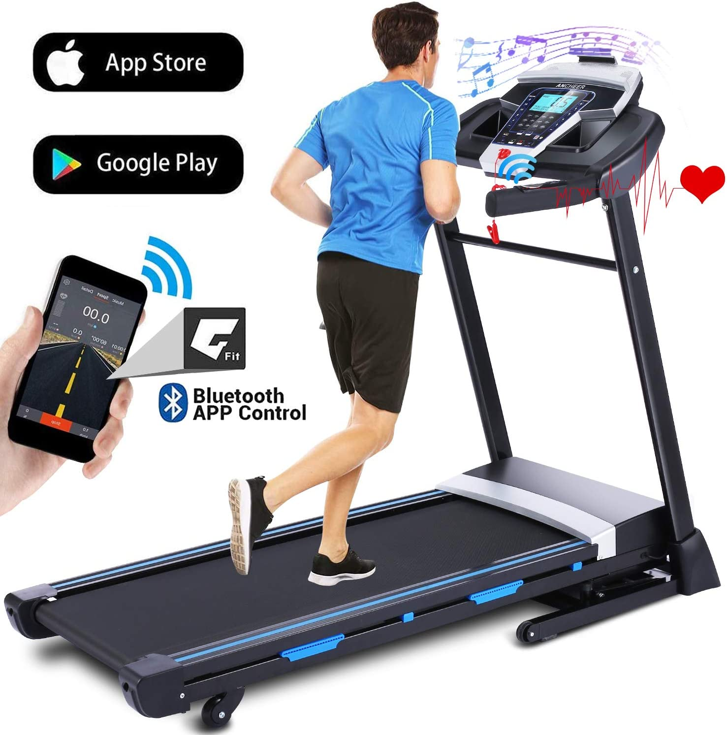 ANCHEER Treadmills for Home, 3.25HP Folding Treadmill with APP Control and Automatic Incline, Running Walking Jogging Machine for Home/Office/Gym Cardio Use