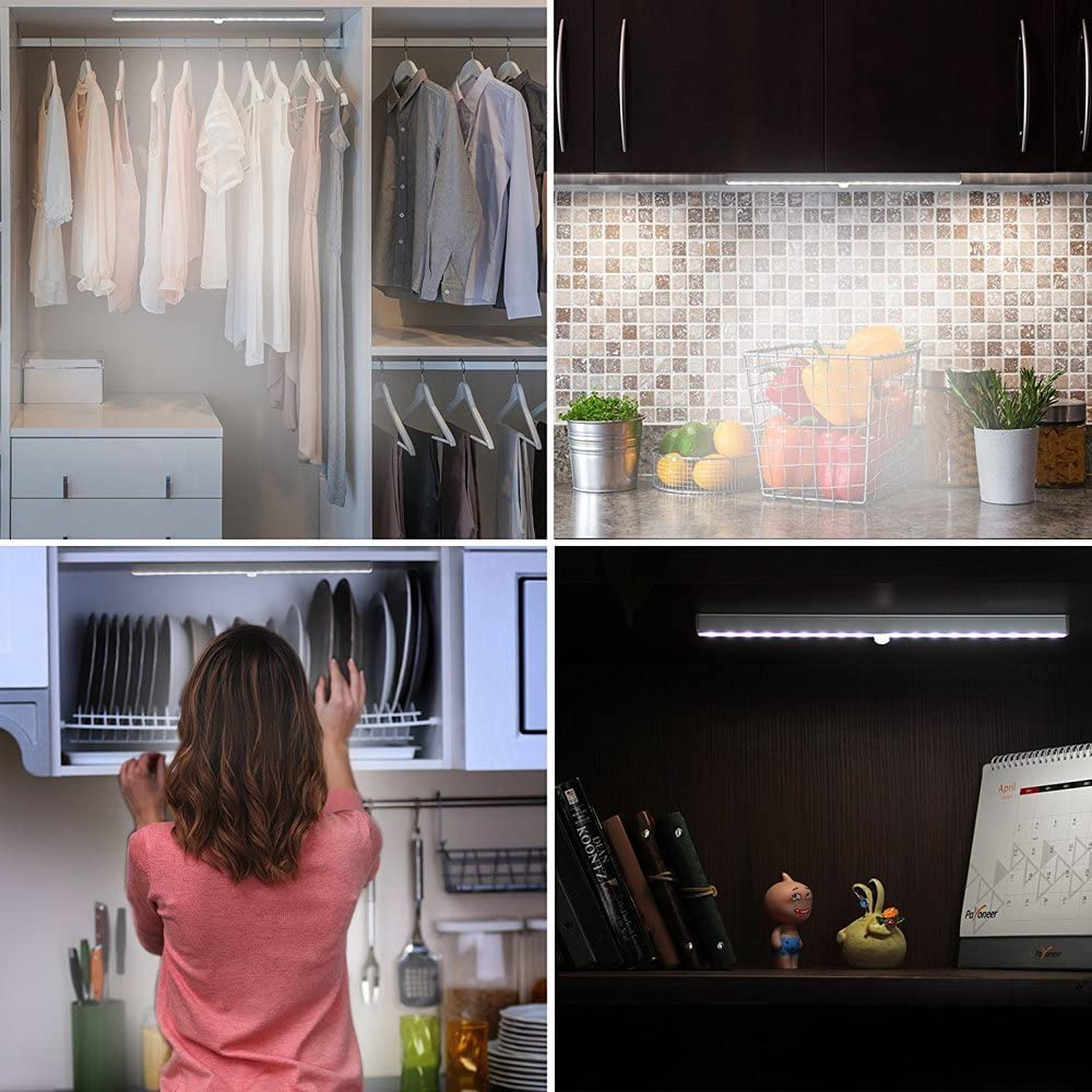 LED Closet Light, Wireless 20-LED Motion Sensor Under Cabinet Lights Battery Operated Night Lighting 3 Pack