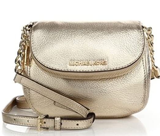 Michael Kors Bedford Gold Flap Crossbody Leather Bag
