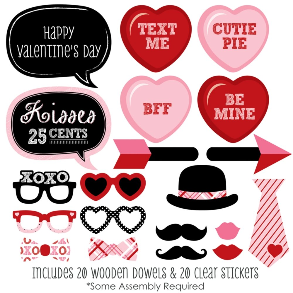 Amazon.com: Valentineu0027s Day   Photo Booth Props Kit   20 Count: Toys U0026 Games