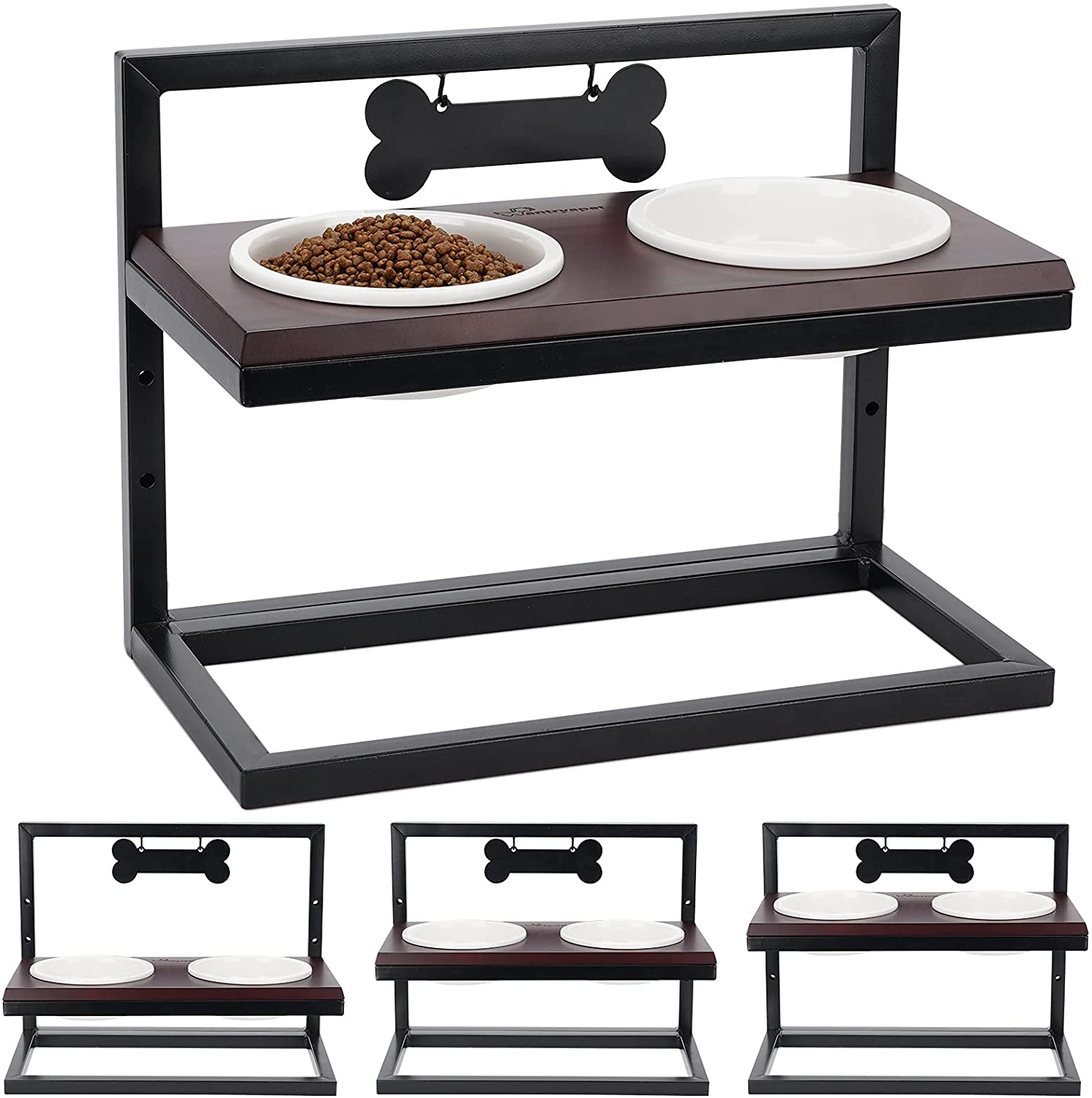 WANTRYAPET Elevated Dog Bowls Adjustable 3 Heights, Premium Break-Resistant Food Water Bowls, Raise Pet Feeder Stand with Name Tags and Marker, Perfect for Puppies, Cat, Small to Large Dogs, Patented
