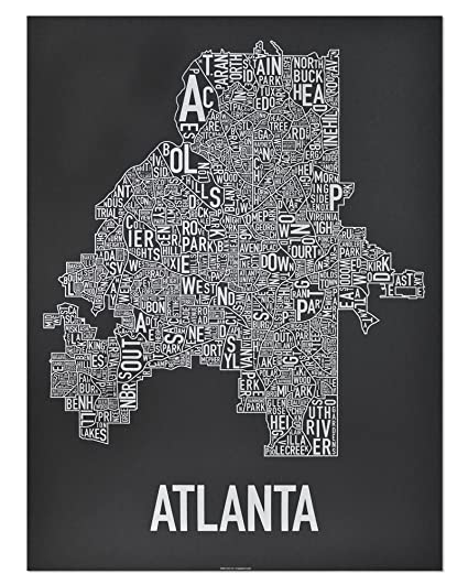 Amazon Com Ork Posters Atlanta Neighborhood Type Map Art Screen