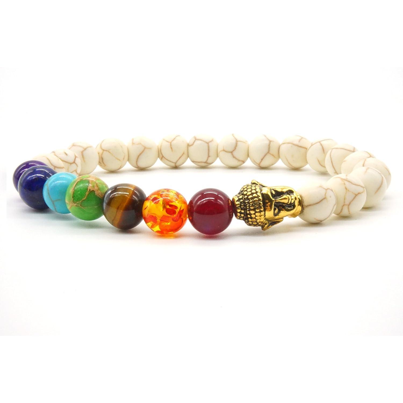 3 pcs Bracelet Homme Femme Bracelet Naturelle Oeil de Tigre 7 Chakra Reiki Bracelet Agate En Pierre Mala M/éditation