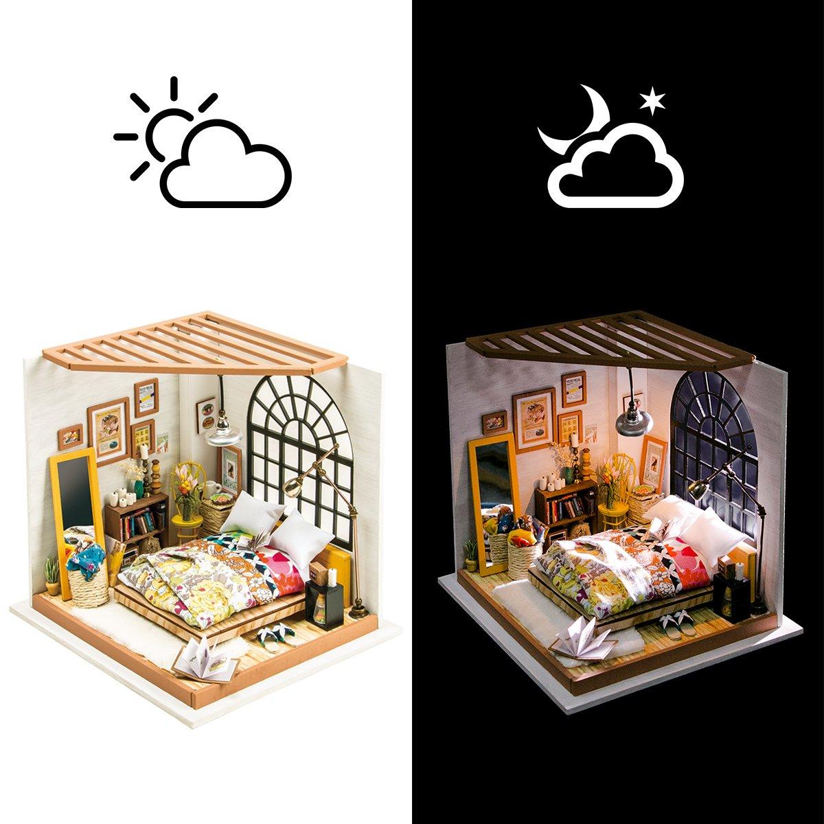 Robotime Dollhouse Kit R/énovation de meubles Woodcraft Kit de Construction Mini Maison de Bricolage /à la Main Avec Lumi/ères et Accessoires Miniature Home Decor D/écor de No/ël Bedroom