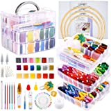 Caydo 254 Pieces Embroidery Kit with Instructions, 162 Color Threads with 3-Tier Transparent Storage Box, 3 Pieces Aida…