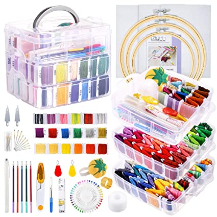 3 Pieces Aida Cloth Embroidery Hoops and Cross Stitch Tools for Beginners 162 Color Threads with 3-Tier Transparent Storage Box Caydo 254 Pieces Embroidery Kit with Instructions