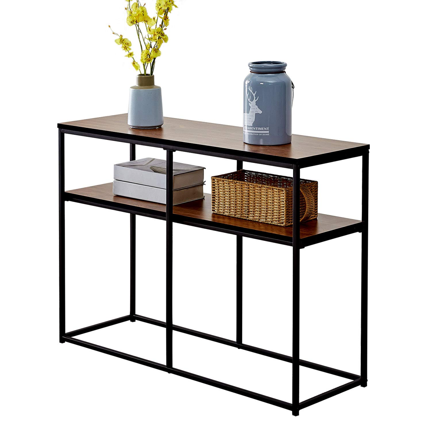 VECELO 2 Tier Console Multipurpose Sofa Side Bookshelf Rectangular Entryway/Living Room Tables with Storage Shelf, Brown by VECELO