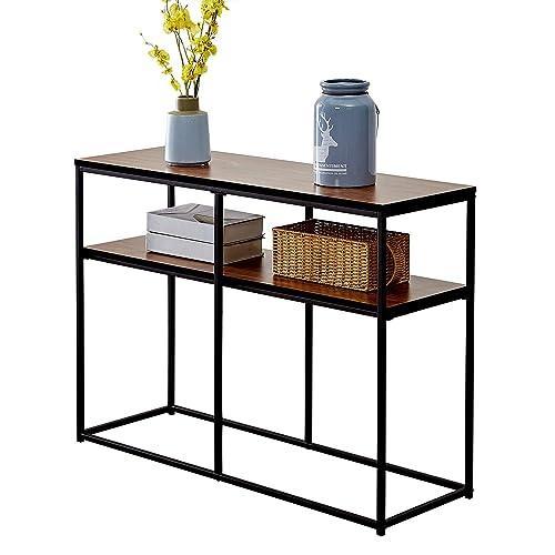 VECELO 2 Tier Console Multipurpose Sofa Side Bookshelf Rectangular Entryway Living Room Tables with Storage Shelf, Brown
