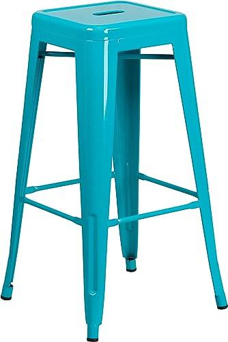 Flash Furniture Commercial Grade 30″ High Backless Crystal Teal-Blue Indoor-Outdoor Barstool