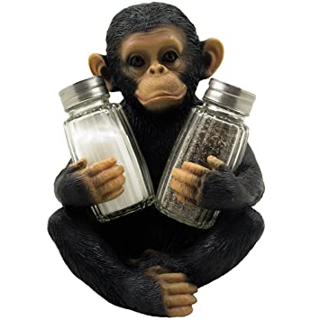 Decorative Monkey Glass Salt And Pepper Shaker Set With Holder Figurine For Tropical African Jungle