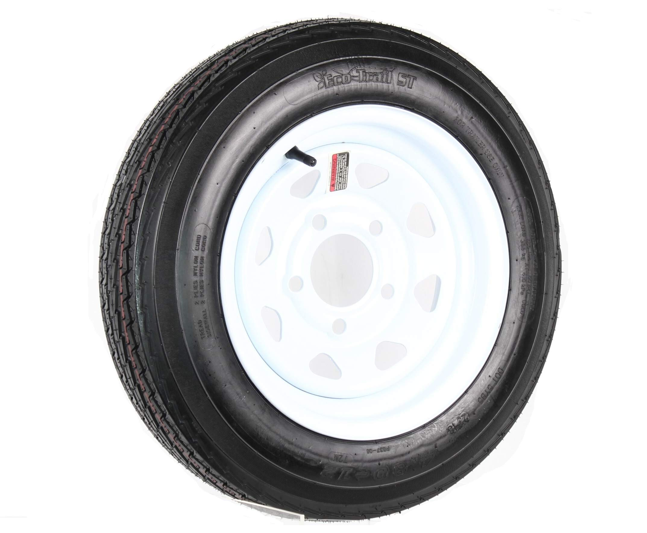 Trailer Tire On Rim 5.30-12 530-12 5.30 X 12 12 in. 5 Lug Hole White Wheel Spoke by eCustomRim