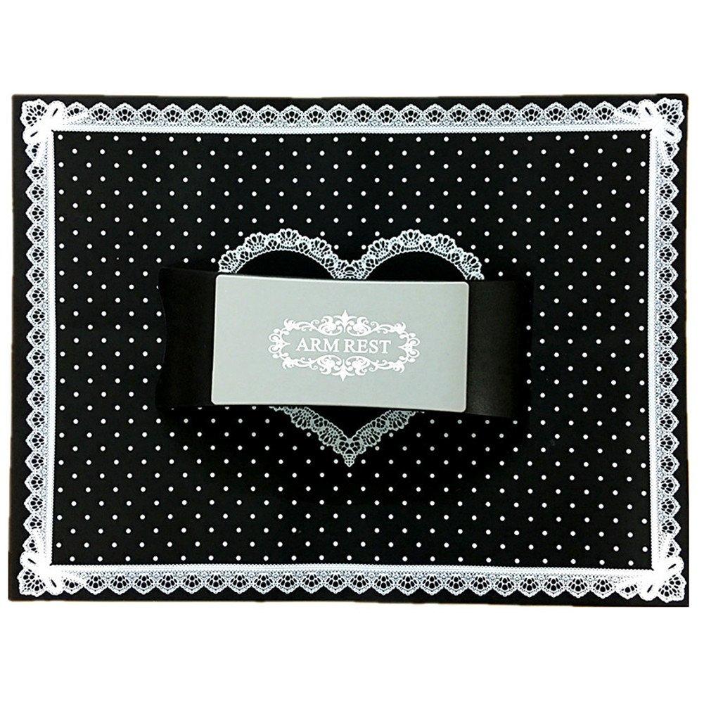 Warm Girl Plastic & Silicone Nail Art Cushion Pillow Nail Salon Hand Holder Arm Rest Manicure Tool (Black Set)