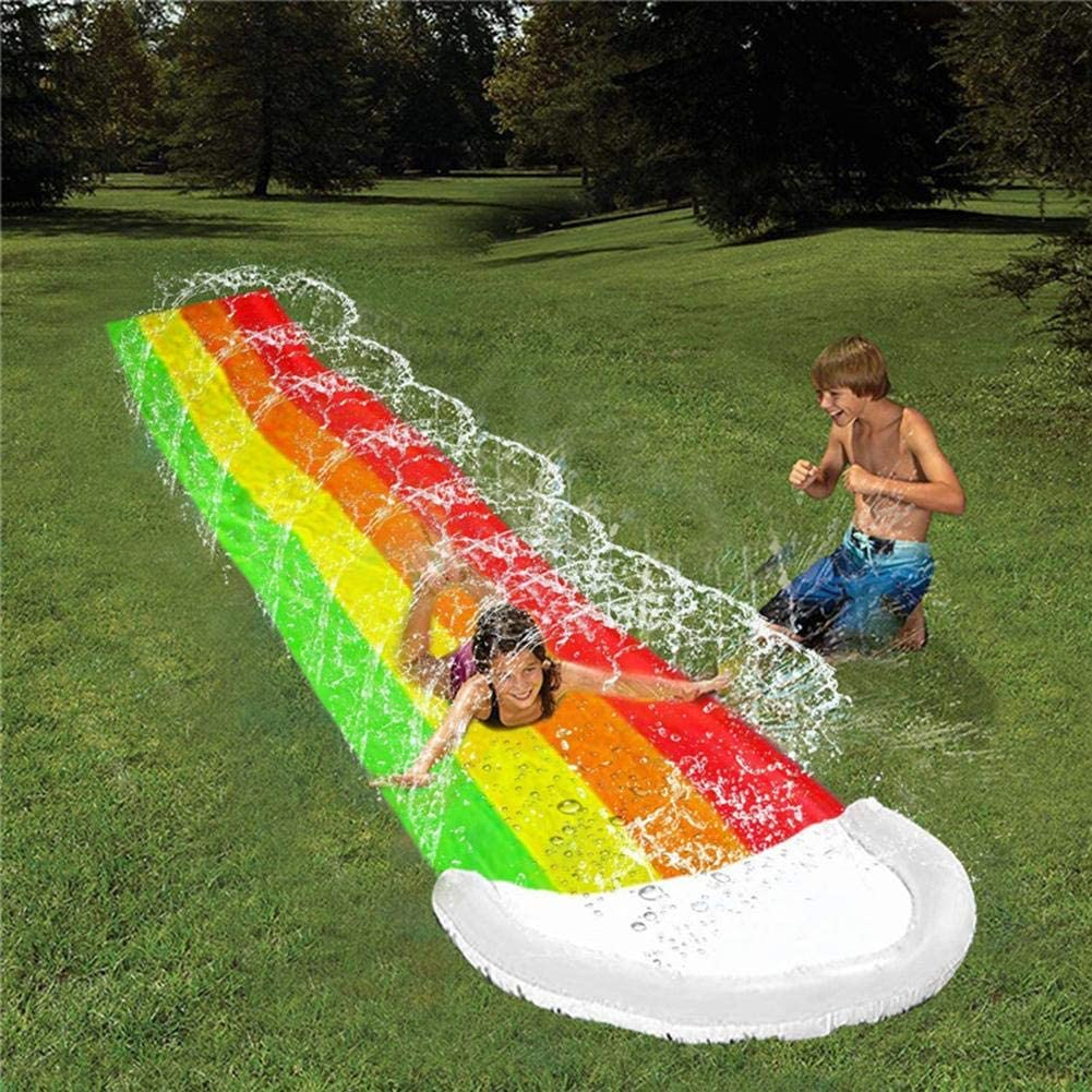 Fulstarshop Lawn Water Slides Rainbow Slip and Slide Backyard Kids Water Pool Toy Water Slides Inflatables for Kids and Adults with Splash Sprinkler Fun Summer Outdoor Water Toys 15.7ft
