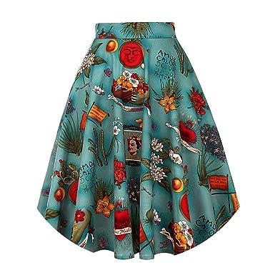 pas cher pour réduction 94725 7ea43 Skirt High Waist Skater Short Jupe 50s 60s Frida Kahlo Print ...