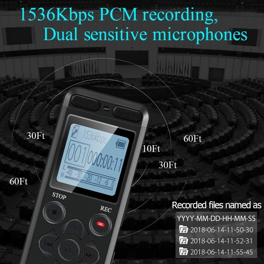 Aiworth E36 Digital Voice Recorder with External Microphone and Headphone