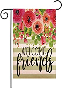 Munzong Floral Garden Flag 12.5 x 18 Inch, Burlap Vertical Double Sided Print Flower House Flag Banner for Seasonal Spring Welcome Yard Flags for Party Anniversary Outdoor Decoration Housewarming Gift