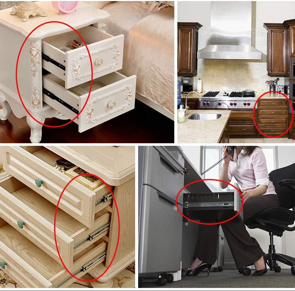 One Pair Contains Two Strong Load-Bearing Capacity Drawer Slides Ultra-Short Small Drawer Rails Three-Section Guide Rail Cold-Rolled Steel Material Smooth Sliding