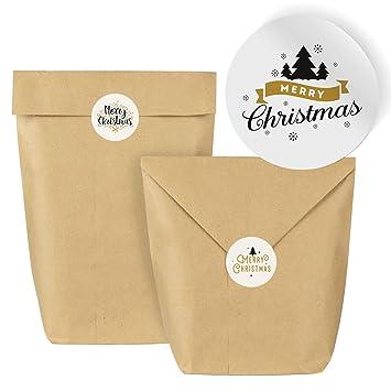 Ist Weihnachten Am 24 Oder 25.25 Geschenktüten Set Aus Kraft Papier Mit 24 Weihnachtlichen Aufklebern Zum Verschließen Und Dekorieren Für Weihnachten 2018 Schwarz Gold