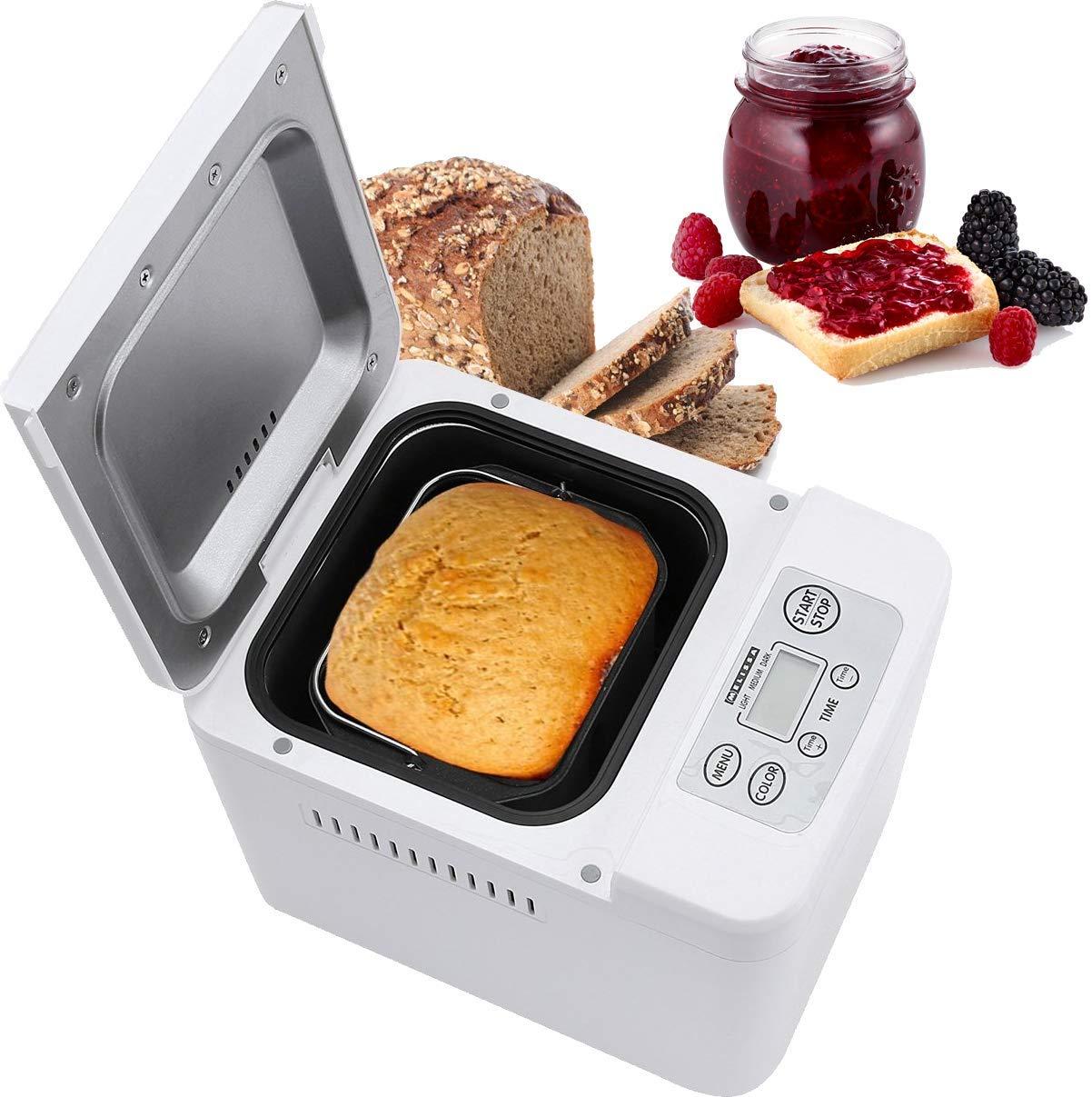 Melissa 16260010 - Panificadora (con preparación automática de masa y pan, Panificadora para hacer pan de mermeladas de Yoghurt de pizza Masa, ...