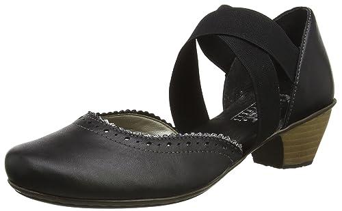 Rieker 43702 - Zapatos de vestir de cuero para mujer, color negro, talla 36